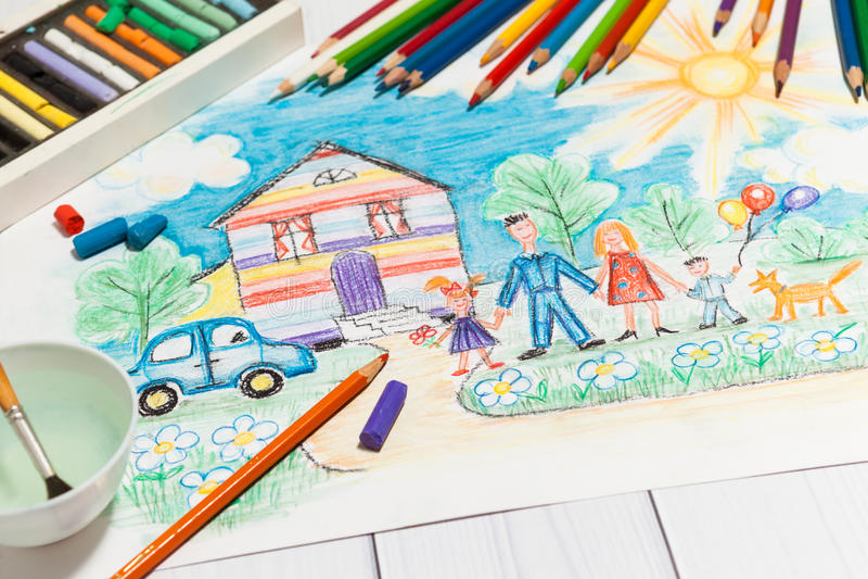 Barns skapelse skissar med den lyckliga familjen stock illustrationer