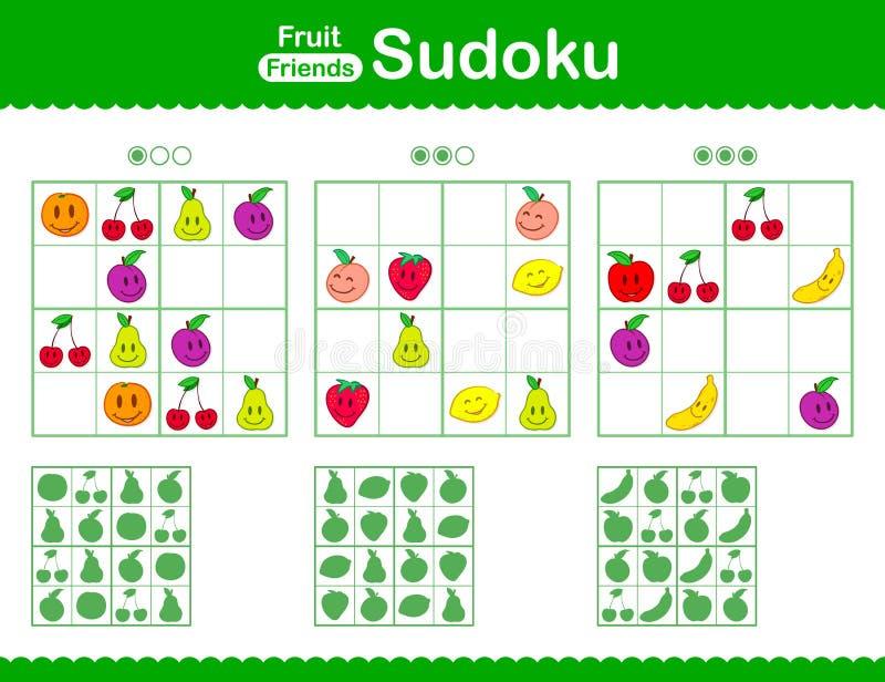 Barns sudokupussel med smileytecknad filmfrukt vektor illustrationer
