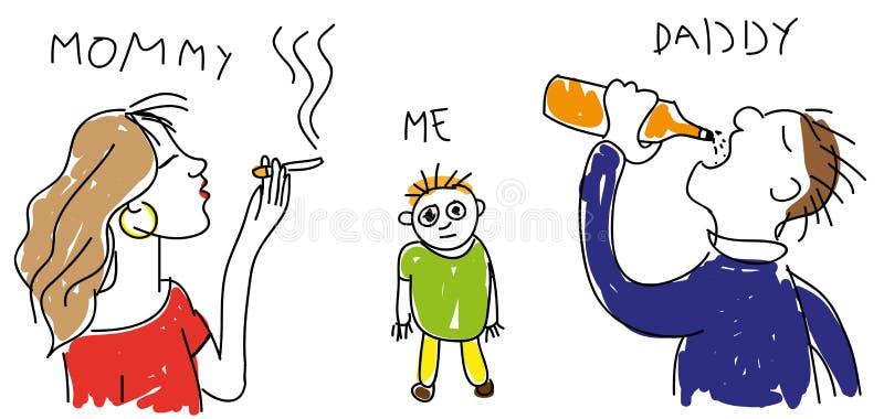 Barns teckning av hans familj arkivfoto