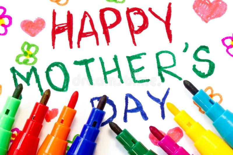 Barns teckning för moders dag arkivbilder