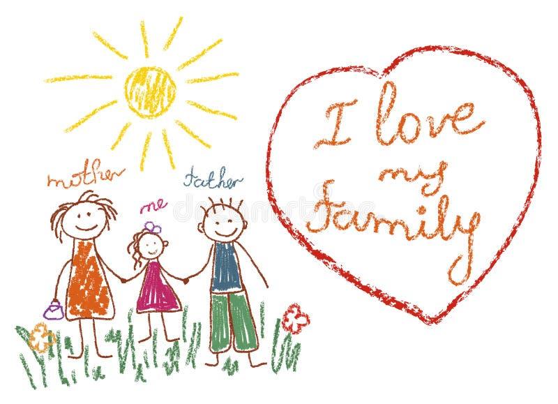 Barns teckning med blyertspennor familj, mamma, farsa, mig Hjärta med uttrycket älskar jag min familj royaltyfri illustrationer