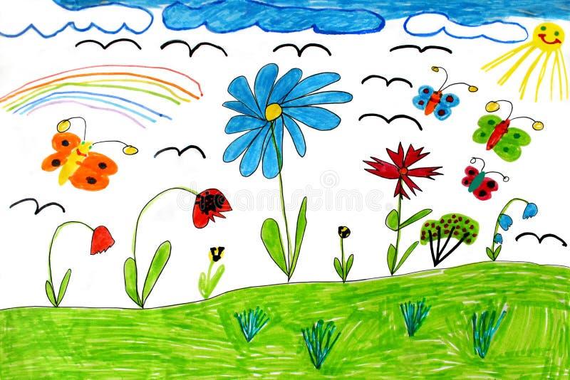 Barns teckning med fjärilar och blommor vektor illustrationer