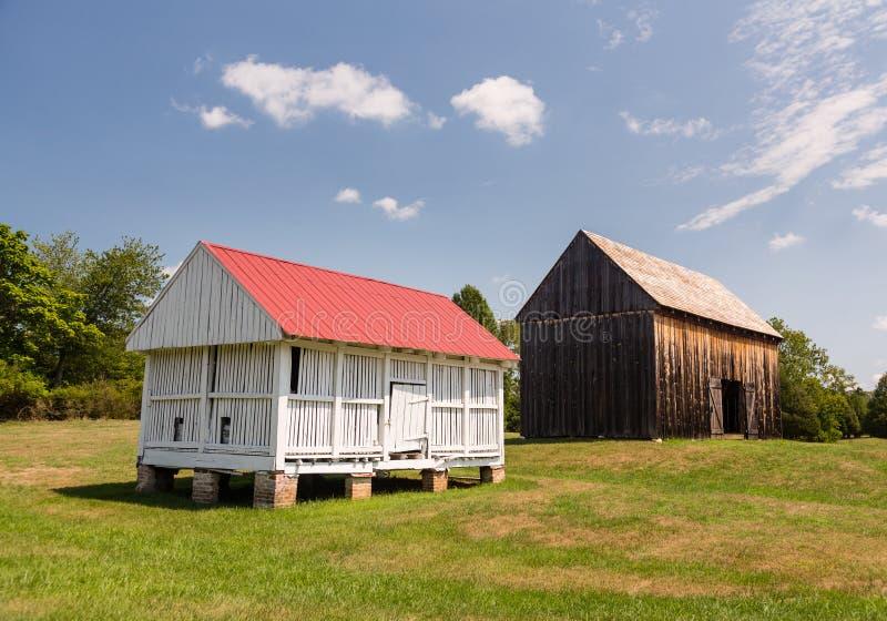 Barns at Thomas Stone house in Maryland stock image