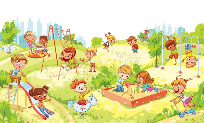 Barns underhållningkomplex med gunga, sandlådan, karusell och glidbanor royaltyfri illustrationer