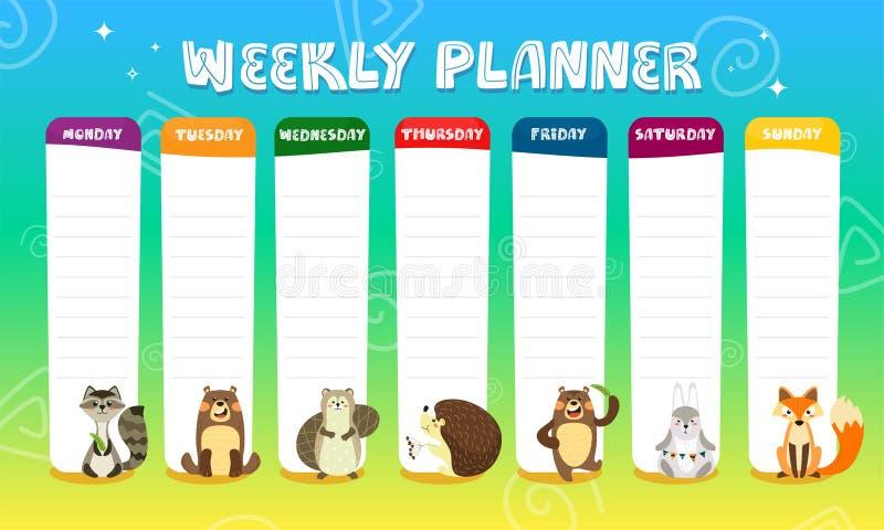 Barns veckovisa planner med söta tecknade djur Schema för grundskola Designmall för tidslinje för barn Vector vektor illustrationer