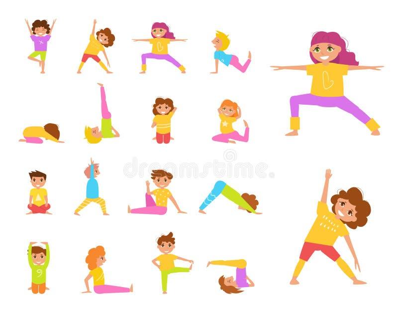 Barns yoga vektor stock illustrationer