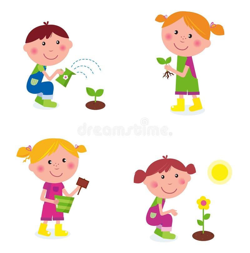 barnsamling som arbeta i trädgården isolerad white stock illustrationer