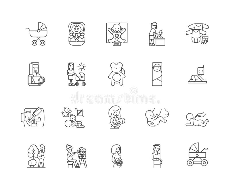 Barnsbördlinje symboler, tecken, vektoruppsättning, översiktsillustrationbegrepp stock illustrationer