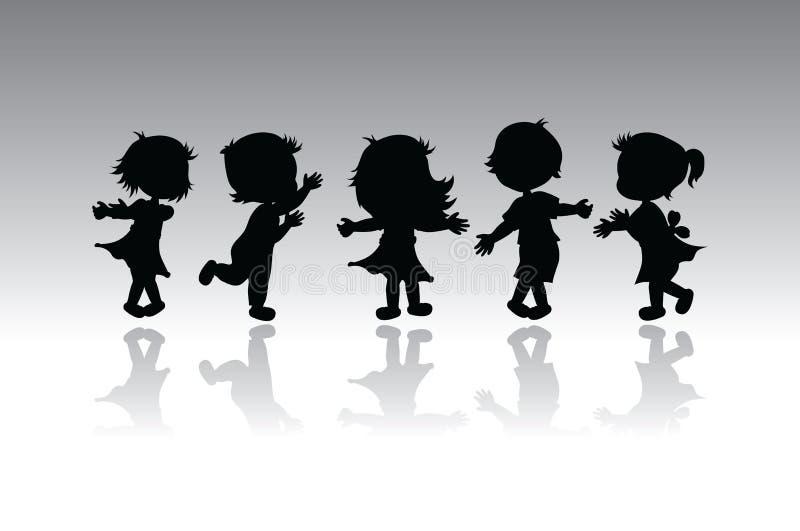 barnsilhouettes vektor illustrationer