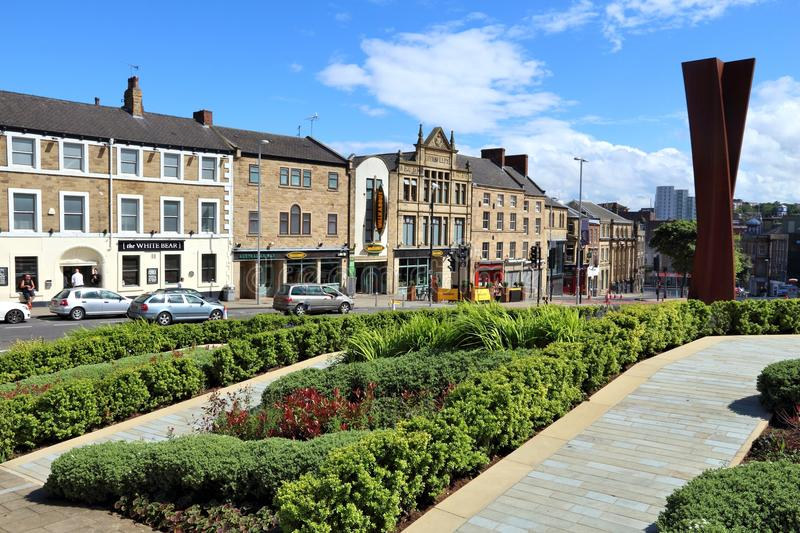 Barnsley. UK - JULY 10, 2016: Town centre view in , UK.  is a major town of South Yorkshire with population of 91,297 royalty free stock images