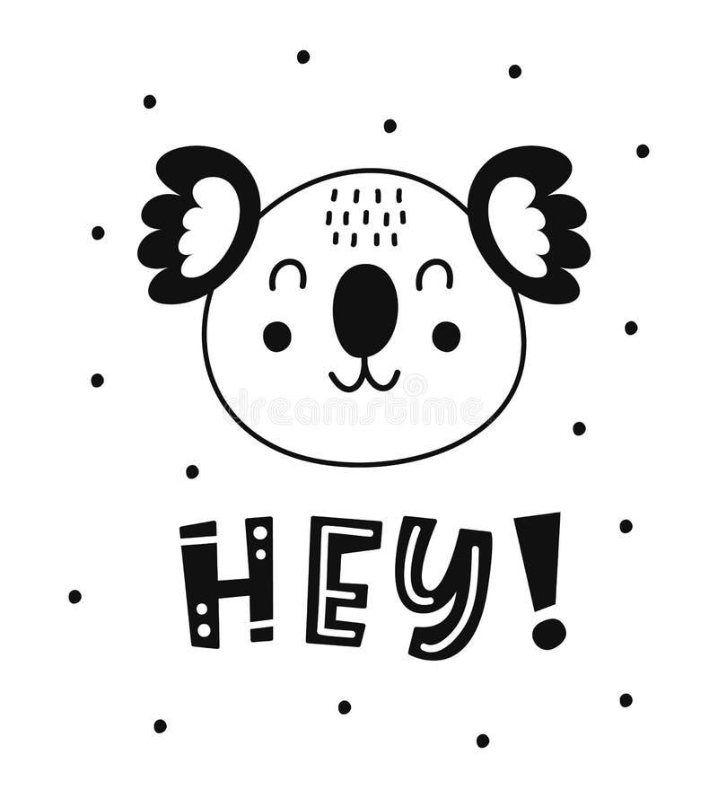 Barnslig affisch för skandinavisk stil med det gulliga djuret stock illustrationer