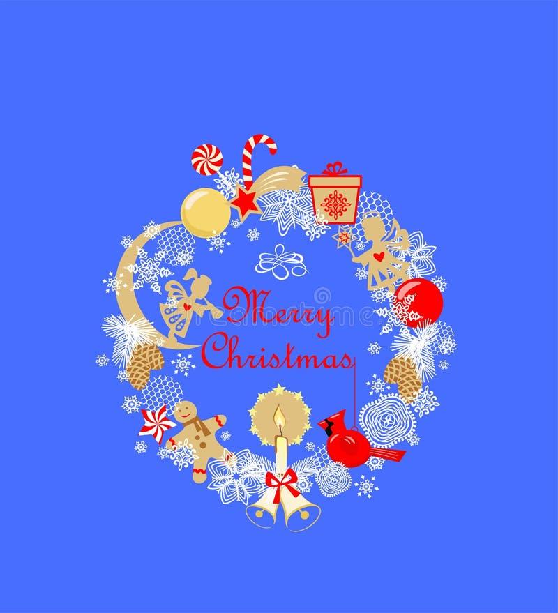 Barnslig applique för rolig julkrans med små guld- änglar, stearinljus, pepparkaka, boll, klirrklocka, strobile, redbird, gif vektor illustrationer