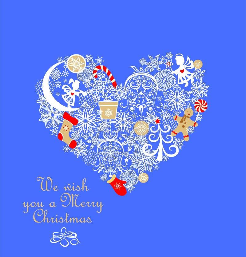 Barnslig applique med papper som klipper hjärtaform med pepparkakan, små änglar, snöflingor, klirrklockan, godisen, gåvan, sockan royaltyfri illustrationer