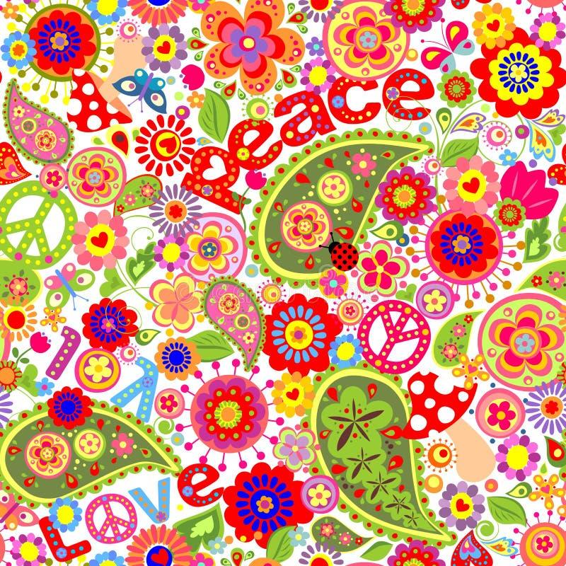 Barnslig färgrik tapet för hippie med champinjoner och vallmo vektor illustrationer