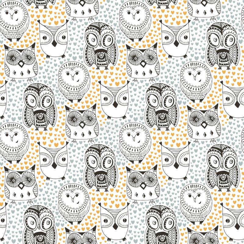 Barnslig modell med den roliga ugglan Drog sömlösa gulliga fåglar för klotter hand Vektorbakgrund för textiltryck eller vektor illustrationer
