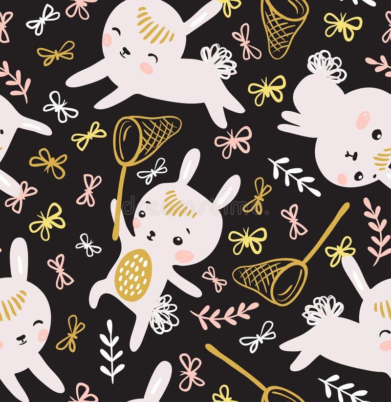 Barnslig sömlös modell med kaniner, fjärilar och gräsmatta royaltyfri illustrationer