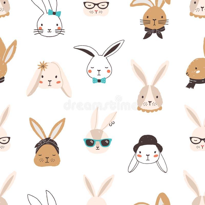 Barnslig sömlös modell med roliga kaninframsidor på vit bakgrund Bakgrund med gulligt bära för kaniner eller för hare vektor illustrationer