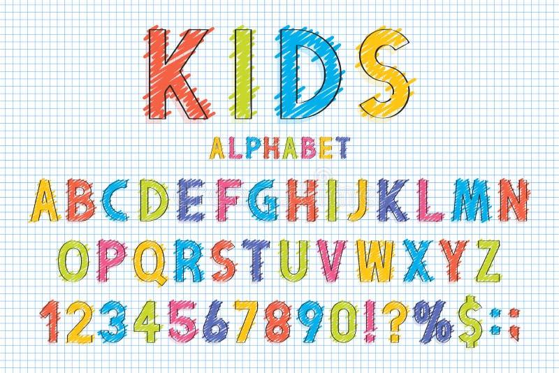 Barnslig stilsort och alfabet i skolastil Blyertspennan klottrar stiliserat i engelskt alfabet med nummer royaltyfri illustrationer