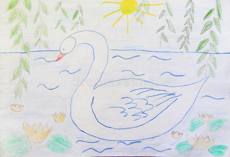 Barnslig teckningssvansimning på sommardammet royaltyfri illustrationer