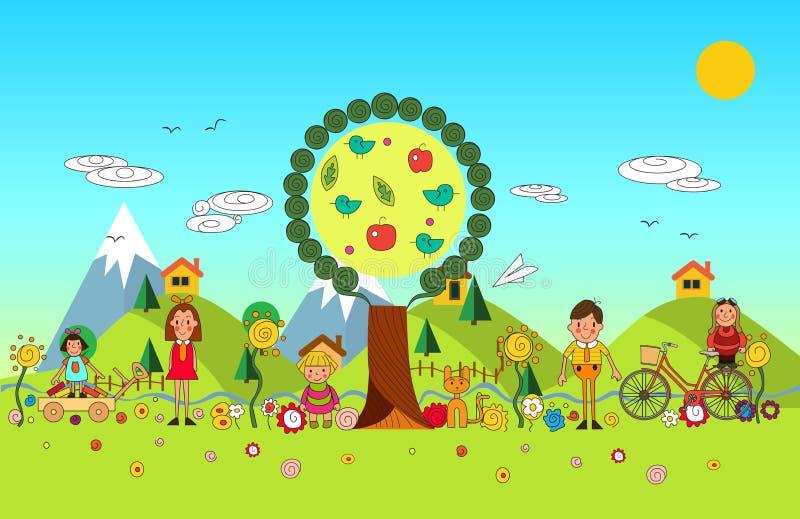 Barnsommarsemestern parkerar in Vektoruppsättning av nolla för sommarbarn` s stock illustrationer
