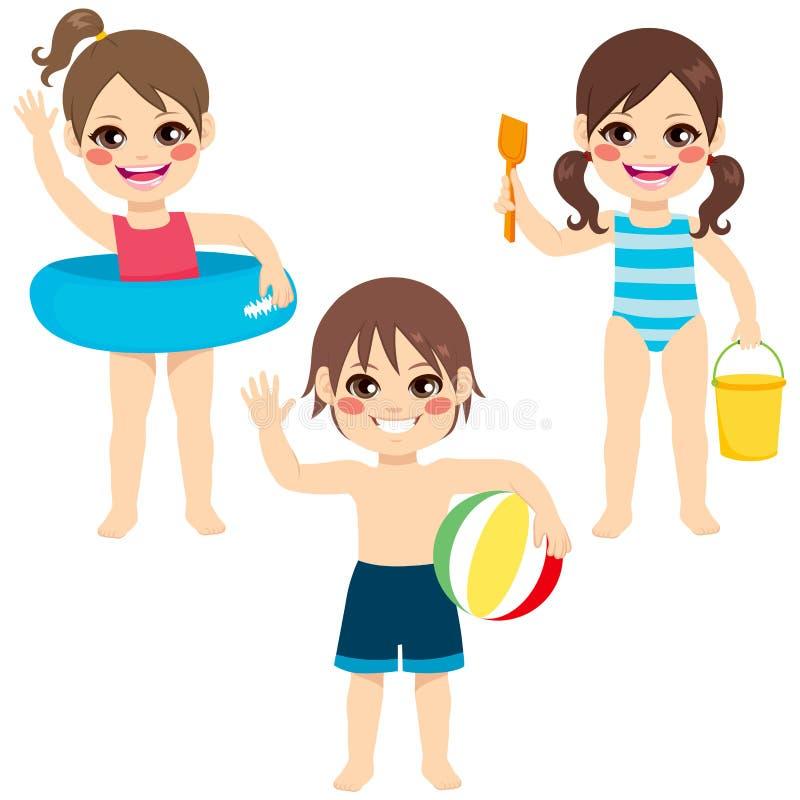 Barnstrandleksaker vektor illustrationer