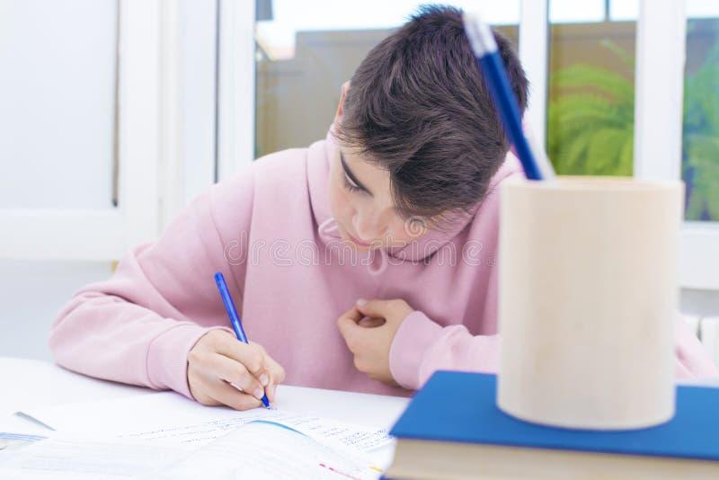 Barnstudent på skrivbordet royaltyfria bilder