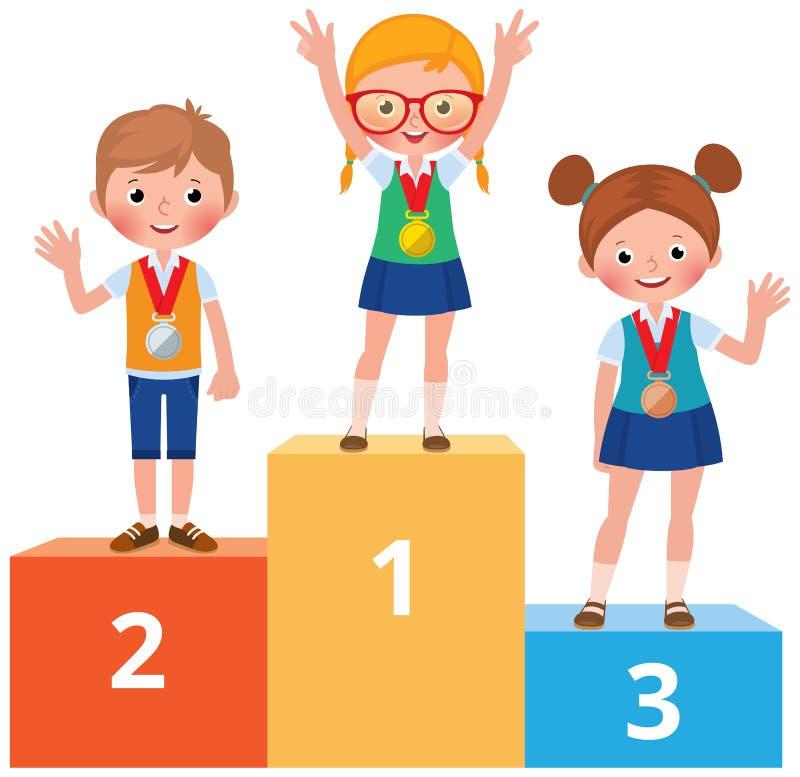 Barnstudenter i skolakläder med medaljer för den stan segern stock illustrationer