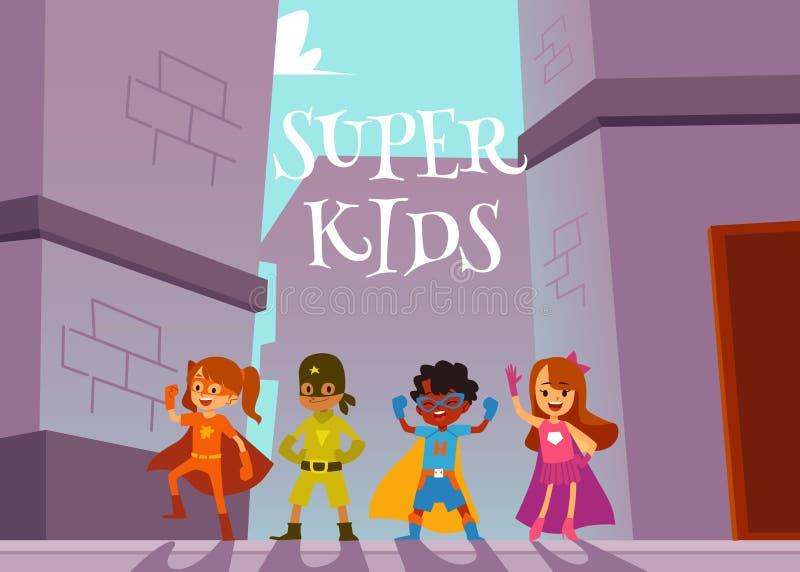 Barnsuperheroeslaget som utomhus står i heroiskt, poserar tecknad filmstil royaltyfri illustrationer