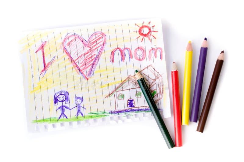Barnteckning av hennes moder för moders dag royaltyfri foto