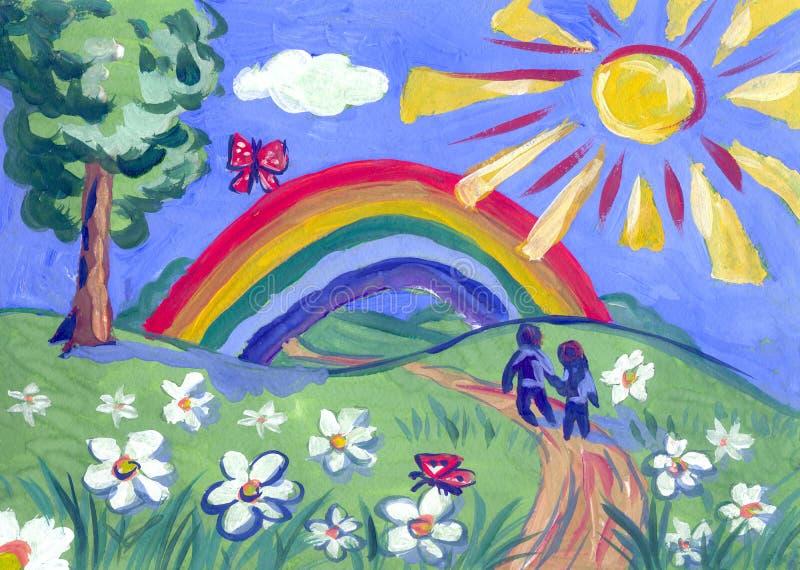 Barnteckning av sommar royaltyfri illustrationer