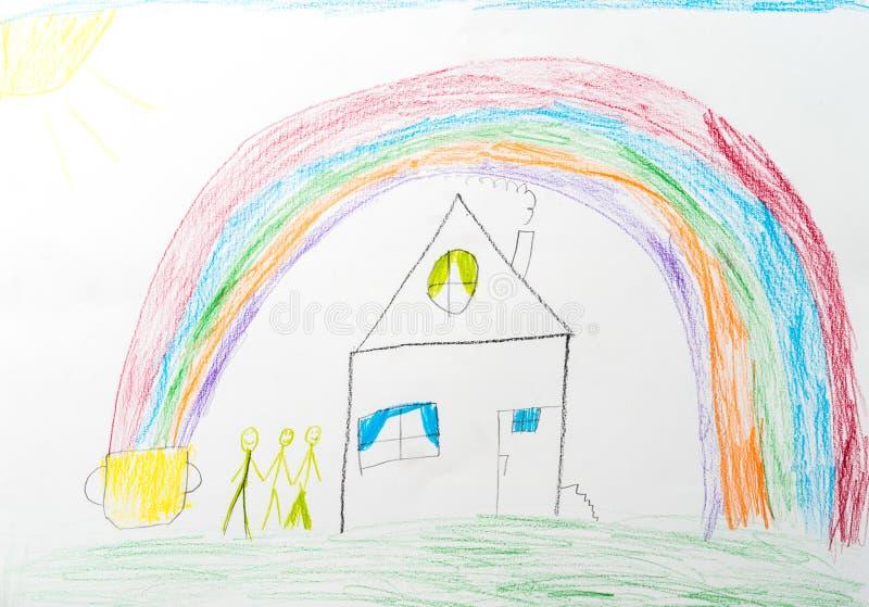 barnteckning s lycklig familj för hem- regnbåge stock illustrationer