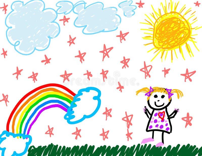 barnteckningen hon själv like royaltyfri illustrationer