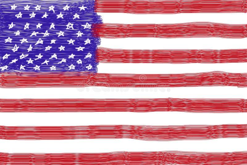 Barnteckningsamerikanska flaggan royaltyfri foto