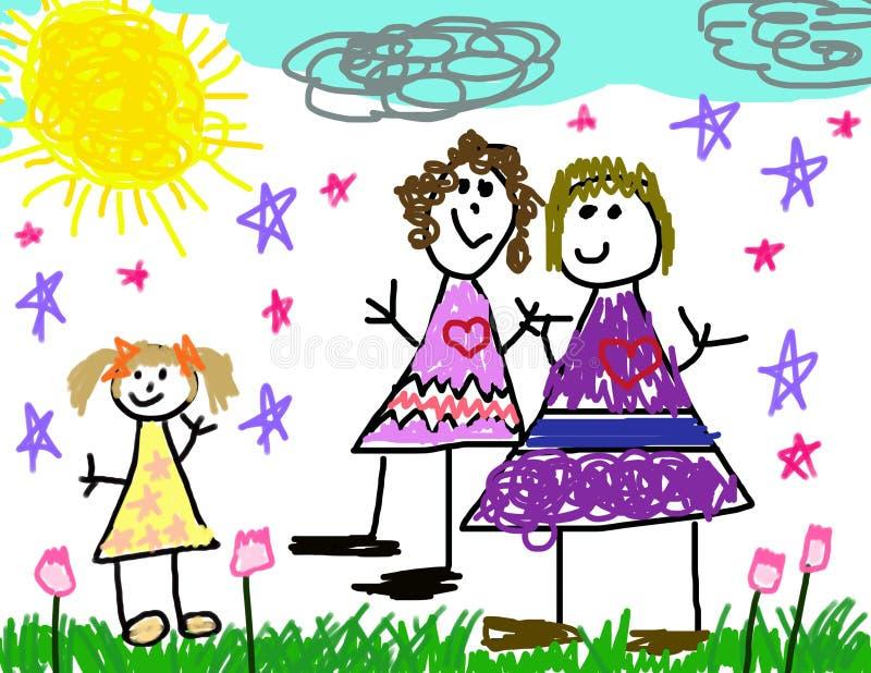 barnteckningsfamilj henne s vektor illustrationer
