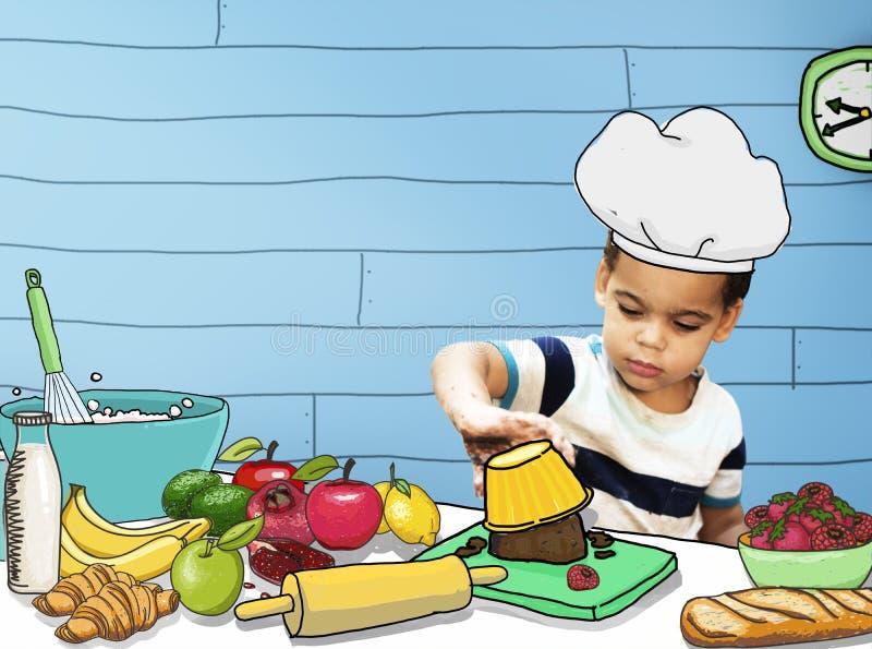 Barnungar som lagar mat kökgyckelbegrepp royaltyfri bild