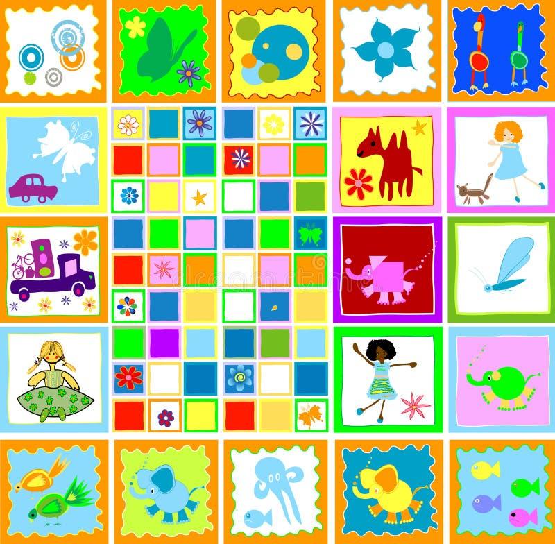 barnungar som leker världen stock illustrationer