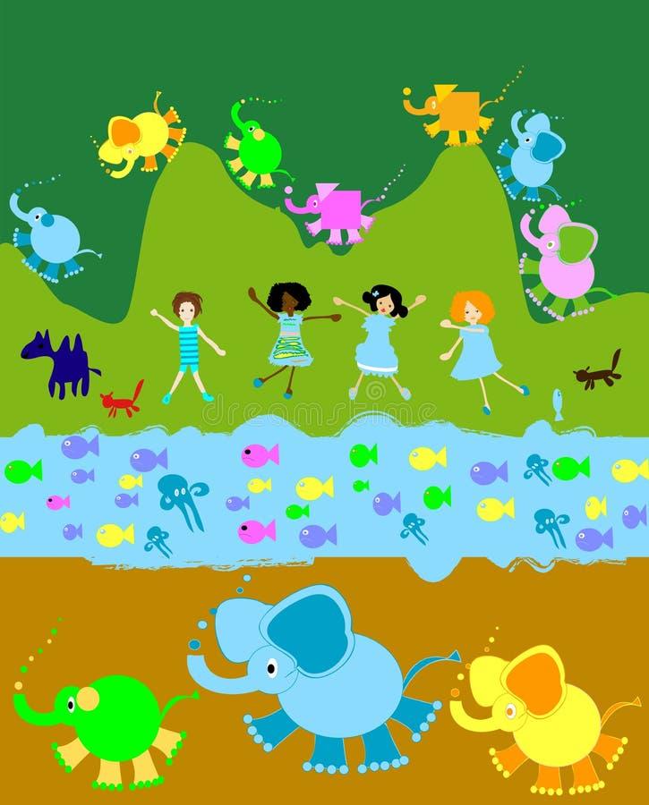 barnungar som leker världen royaltyfri illustrationer