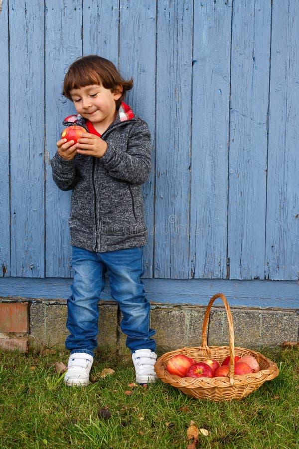 Barnunge som äter höst för copyspace för full kropp för äpplefrukt utomhus- royaltyfria foton