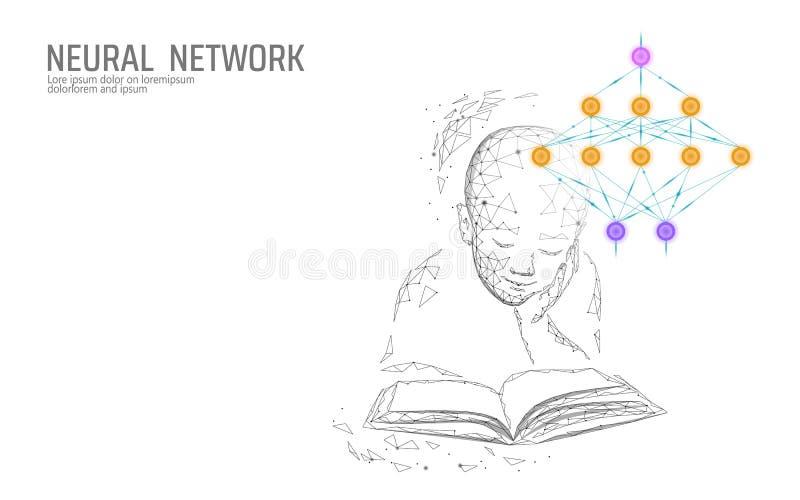 Barnutbildningsonline-begrepp Konstgjord beräkning för moln för medicin för vetenskap för teknologi för nerv- nätverk Abstrakt be royaltyfri illustrationer