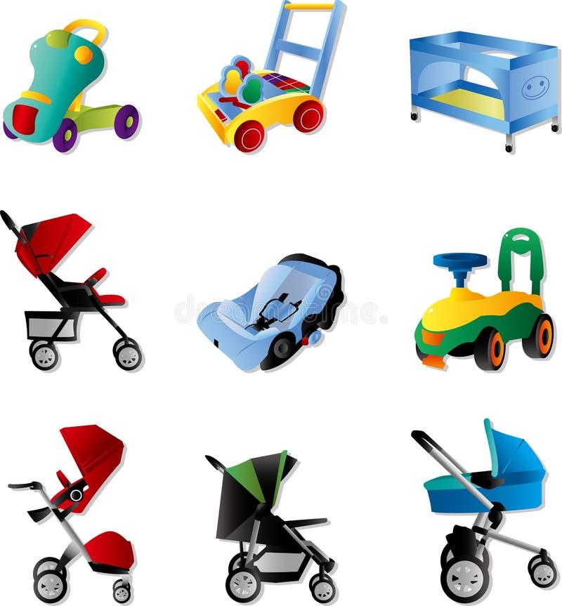 barnvagnset vektor illustrationer