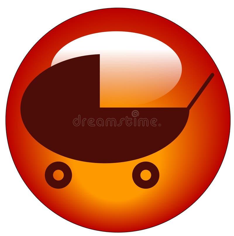 barnvagnsymbolsstroller royaltyfri illustrationer