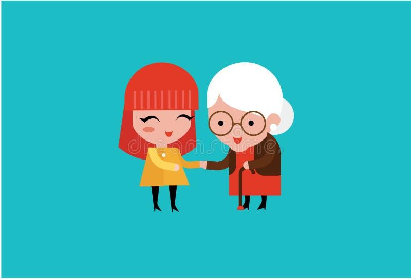 barnvolontärkvinna som att bry sig för äldre kvinna stock illustrationer