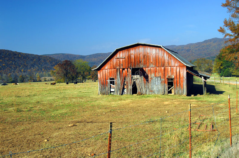 Barnyard and Autumn in Ozarks royalty free stock image