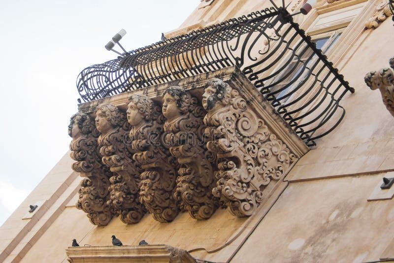 Barock balkong, Sicilien arkivfoton