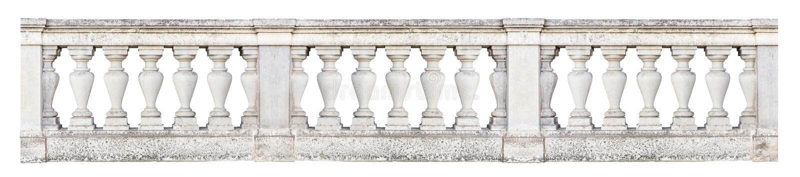 Barock balustrad som isoleras på vit bakgrund royaltyfri bild