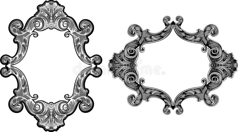 barock black inramniner white två vektor illustrationer