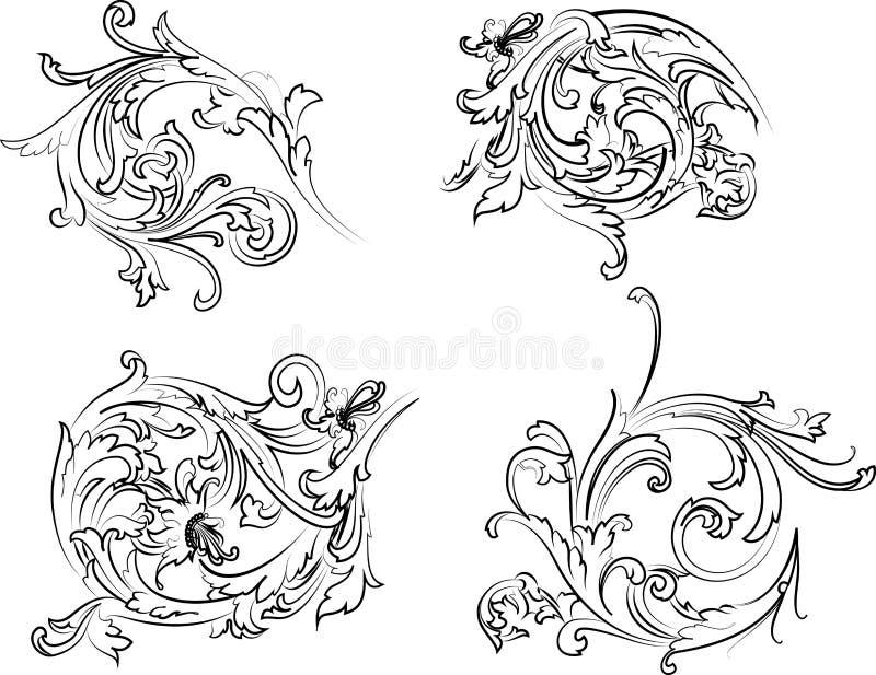 barock calligraphyrosettestil royaltyfri illustrationer