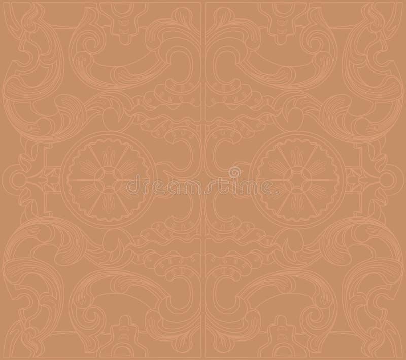 Barock damast blom- prydnad för tappning royaltyfri illustrationer