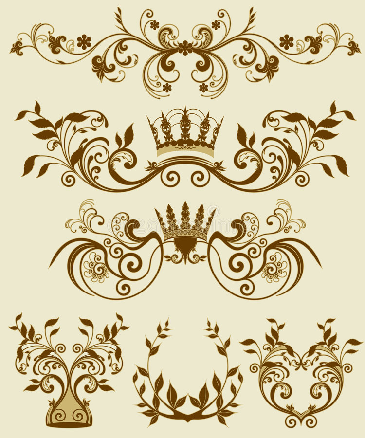 barock dekorativ blom- modellstilett royaltyfri illustrationer