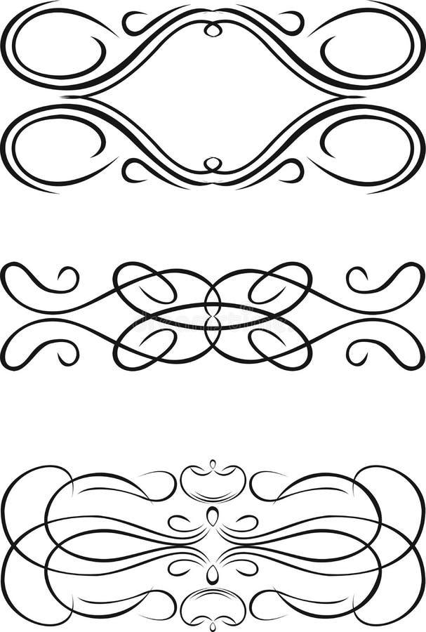 barock färg curves en tre vektor illustrationer